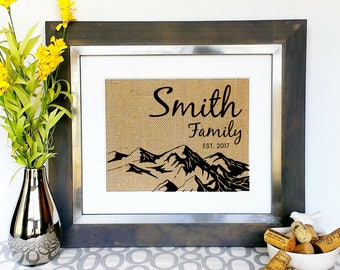mountain home house family name sign custom housewarming gift for cabin unique house warming gifts for - Unique House Gifts