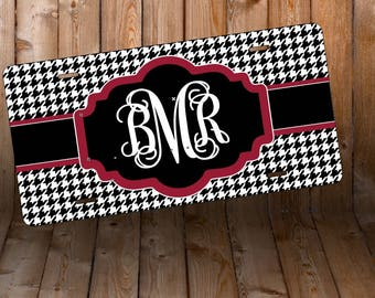 Houndstooth Monogram License Plate