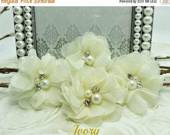 25% SALE 4 IVORY Audrey Chiffon Flowers Dainty Soft Chiffon Flowers W/ Pearls & Rhinestones Mesh Layered Small Fabric Flowers Hair accessory