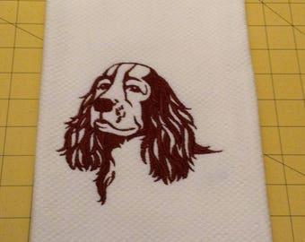 English Springer Spaniel (Brown) Silhouette Martha Stewart Collectible Embroidered Kitchen Hand Towel 100% cotton, 20 x 30
