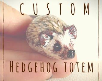 Custom Hedgehog Pocket Totem Pet Portrait Figurine Handmade Sculpture
