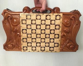Handmade Wooden Backgammon Board Set made of Natural Linden