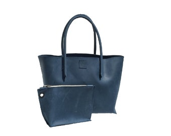 Big leather bag shopping bag with zipper pocket shopper used look handmade