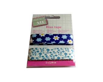 Bias sewing flower 2 x 2.50 m 2 cm wide blue and beige