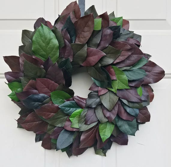 Fall wreath,  preserved salal wreath, foliage wreath, leaf wreath, dried wreath, preservedl wreath, natural wreath,  autumn wreath