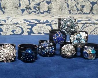 Something Blue Napkin Rings Set of 8