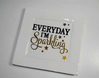Porcelain pin tray with quote