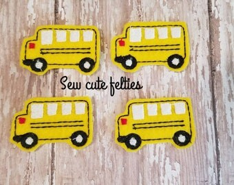 School Bus Feltie - bus Felties - Bus - Felties -Embroidered Felt Appliques - Hair Bow Centers