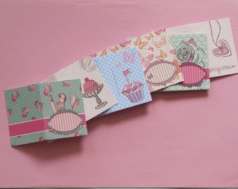 Single (one) set of 12 cards perforated double gift 5x7cm shut