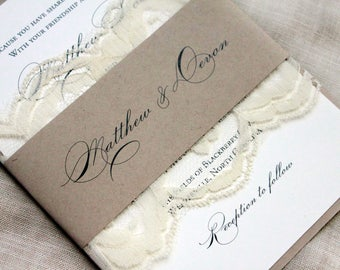 Elegant Wedding Invitations, Country Lace Wedding, Barn Wedding Invitation Set, Burlap and Lace Invitation Suite, Rustic Wedding Invitations