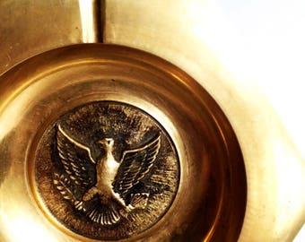 hexagonal brass ashtray with federalist eagle
