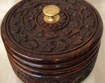 wooden Carved round box
