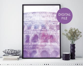 Colosseum, Rome, Italy Watercolour Print Wall Art | Print At Home | Digital Download File