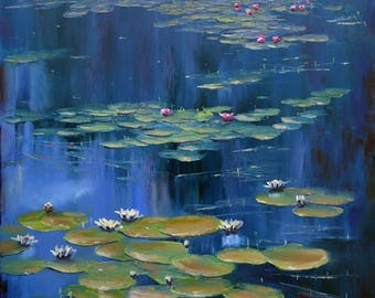 """giclee of original oil painting""""blue pond"""""""