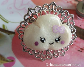 Ring tray filigree lace adjustable silver-plated cloud kawaii white polymer clay