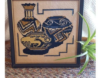 Vintage Embroidered Mexican / Southwestern Pottery Framed Picture
