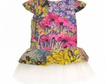 Girl flower Dress, Prima Ballerina Mandarin Liberty