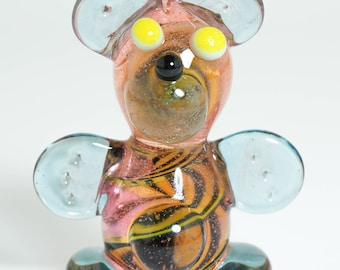 CFL Color Changing Twisty Bear Heady Glass Pendant