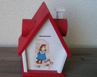 Retro wooden piggy bank Sarah