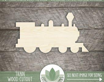 Wood Train Laser Cut Shape, Wooden Train, Wood Christmast Train Shape, DIY Craft Supply, Party Decoration, Train Home Decor, Train Nursery