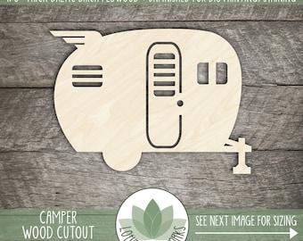 Wood Camper Shape, Unfinished Wood Camper Laser Cut Shape, DIY Craft Supply, Many Size Options