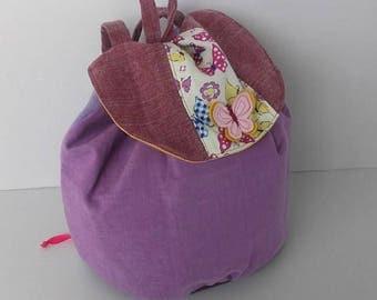 Backpack nursery school, school bag nursery school, bag lives girl purple butterfly.