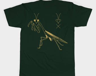 Animal t shirt, insect t shirt, original t shirt, praying mantis t shirt, praying mantis design, green t shirt, unisex t shirt, unique shirt