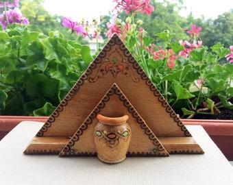 Wooden napkin holder Vintage napkin holder Handmade napkin holder Toothpick holder Home decor Kitchen decor Rustic decor Gift for her