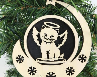Cat Angel Wood Ornament, Kitty Angel Ornament,  Cat Wood Cut out, Christmas Ornament, Holiday Kitty Ornament, Kitty Memorial Ornament