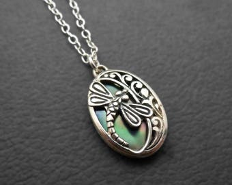 Beautiful Mother-of-Pearl Dragonfly Silver Necklace