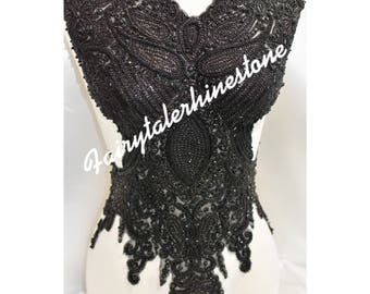 Black beaded embroidery
