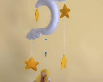Baby mobile- fairy with moon, clouds and stars.