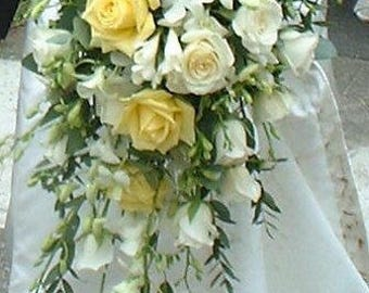 Yellow and white rose cascading bridal bouquet