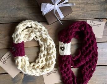 Canada 150, canada 150 infinity scarf, crochet infinity scarf, crochet scarf, burgandy scarf, mommy and me, cream scarf, scarf