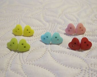 heart button earrings 5 colors options