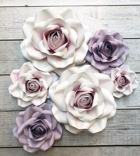 Large Paper Flower Set - Roses, Shabby Chic, Wedding Decor, Bridal ...