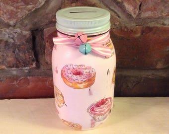 Cakes & Treats, Mason Jar money bank, savings jar, piggy bank, Shabby chic, vintage,