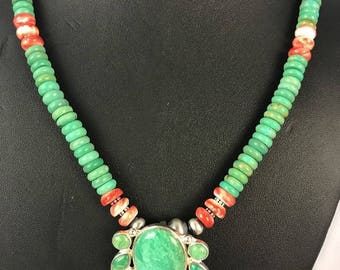 Navajo Design Sterling Silver Green Turquoise Spiny Necklace Pendant