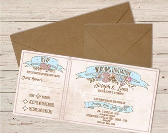 Wedding Invitation & RSVP with Envelopes | 2 in 1 Vintage Floral Design with gemstones | Personalised | Made to Order