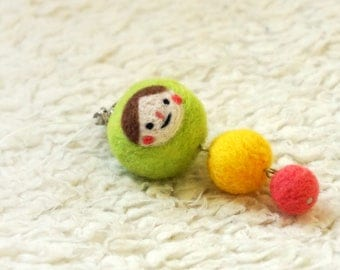 Wool Needle Felted Keychain - Little Girl
