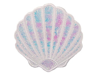 Clam Shell Iron On Patch, Clamshell Iron On Applique, Seashell Patch, Seashell Applique, Kids Patch, Embroidered Patch