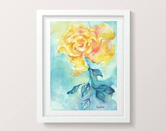 Watercolor Rose Print Digital Download Art Wall Decor Living Room Floral Print Flowers Digital Artwork Printable Watercolor Print Gift Mom