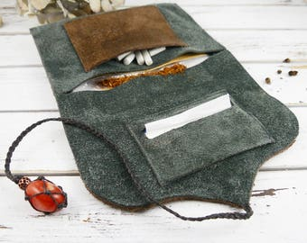 Leather tobacco bag - tobacco pouch - suede leather pouch - leather purse - tobacco Organizer - recycled leather