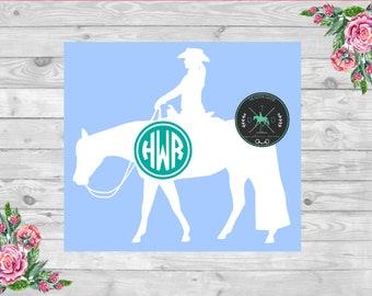 Western Pleasure Horse Monogram Car Decal - equestrian sticker