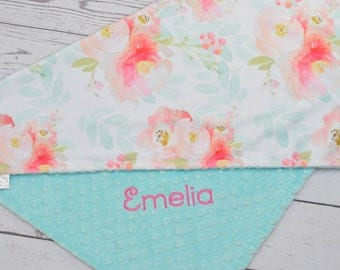 Baby Girl Blanket-Personalized Baby blanket Girl-Flora minky baby blanket Girl -Coral Flora baby blanket-Floral Roses White Pink blanket