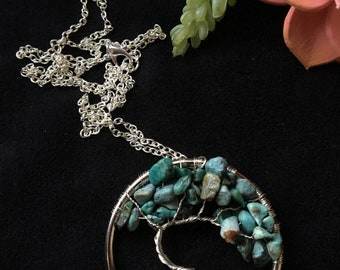 African Turquoise  Tree of Life Necklace