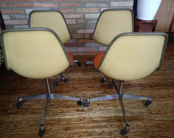 4 Rare Orange Herman Miller Swivel Shell Chairs With Polished Aluminum Bases Mid Century