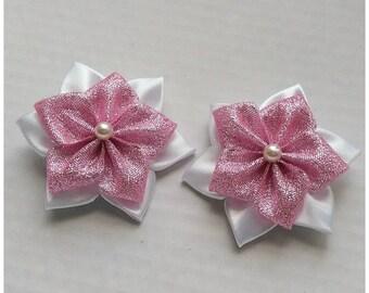 2x Kanzashi flowers hair clip/Alligator hair clips for little girls/Satin ribbon hair clips/