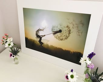 A3 Mounted Print of 'Dancing with Dandelions'