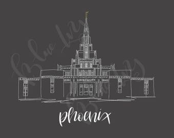 Phoenix Arizona LDS temple, hand sketch, instant download, wedding gift, home decor